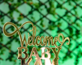 Welcome Baby Acrylic Cake Topper/Baby Shower Cake Topper/Gender Reveal