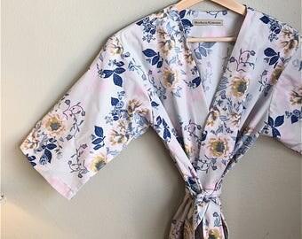 READY to SHIP MEDIUM Light Blue Kimono Robe. Kimono. Light Blue Bridesmaid Robe. Blue Wild Posies. Light Blue Floral Bridesmaids Robes.
