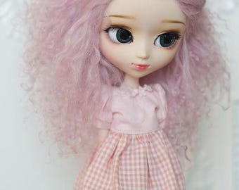 Short Light Violet Purple Wavy Tibetan Mohair Wig for Volks BJD SD MSD Pullip and Rosenlied Holiday Dolls