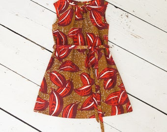 Girls ethnic dress, Childs red dress, cocoa bean print dress, colourful summer dress, girls dresses, ready to ship