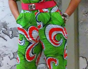 Gifty Ankara Jumpsuit African Print Cold Shoulder Slim Leg with Pockets for Summer Fun Fourth of July Bridesmaids Holiday