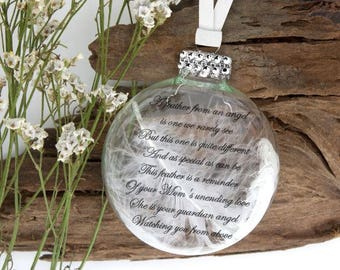 Mom Memorial Ornament - A Feather From an Angel - Memorial Ornament - Sympathy Gift - Heaven Ornament - Rembrance Ornament - Memorial Mom