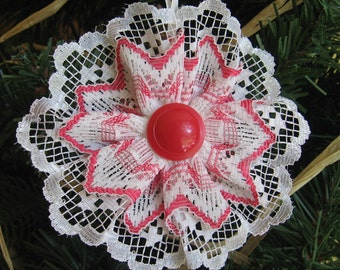 Red and White Lace Ornament, Christmas Tree Ornament, Vintage Red White Lace, Tree Decoration, Red Christmas Decor
