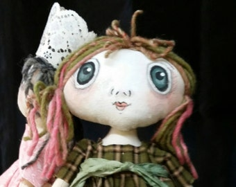 Prim Annie Doll / Easter Basket Gifts for Her / Rag Doll / Cloth Doll/ Art Doll/ Primitive Decor / Handmade Gifts for Her / Rag Dolls