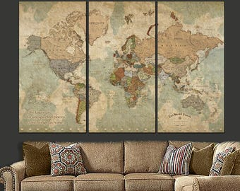 World map canvas etsy push pin travel map of world world map canvas wall art push pin map gumiabroncs Choice Image