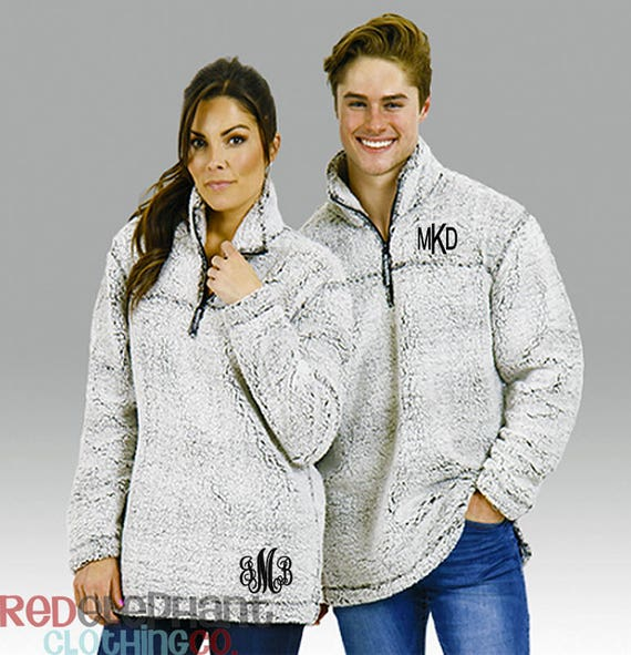 Monogram Sherpa Pullover Jacket Monogrammed Pullover Sweater