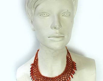 ON SALE Vintage 1980s orange and navy seed glass bead mesh bib boho necklace
