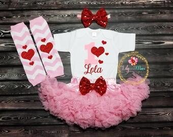 Valentineu0027s Birthday Girl Outfit, Birthday Girls Outfit, First Birthday  Outfit,Valentineu0027s Day Birthday
