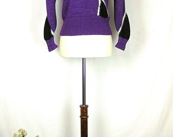 Vintage Purple Sweater with Angora Accents