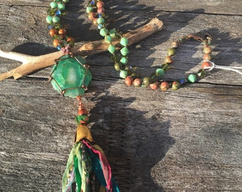 Tassel necklace,Unakite gemstone beads,green Czech beads, sari multicolored tassel,green crystal,hand knotted, green large Agate pendant