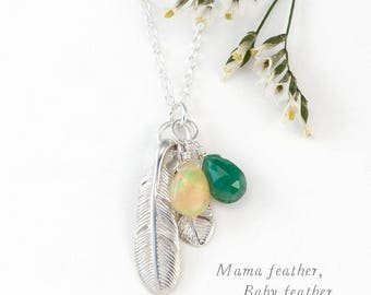 Silver Mom & Baby Birthstone Necklace, Custom Family Jewelry, Feather Necklace, Gift for Wife, Gift her Mom, Dainty Necklace, Unique Gift