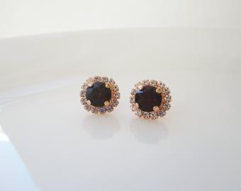 Burgundy Earrings, Morganite Earrings, Bridesmaid Earrings, Wine,Merlot Earrings, Swarovski Crystal Earrings, Bridal Earrings, Crystal Studs