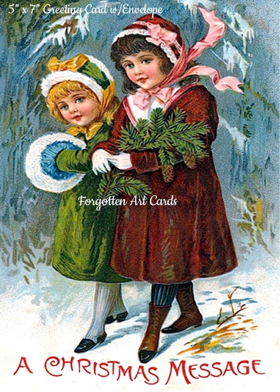 """A Christmas Message,  5"""" x 7"""" Greeting Card with Envelope, Christmas Card, 2 Victorian Girls, Fur Muff, Pretty Girl Postcards"""