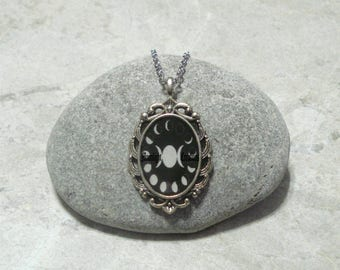 Triple Moon Lunar Phase Necklace Antique Silver