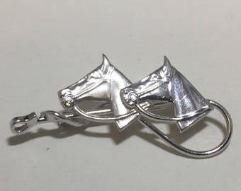 Vintage Horse Heads and Riding Crop Carl Art Sterling Brooch