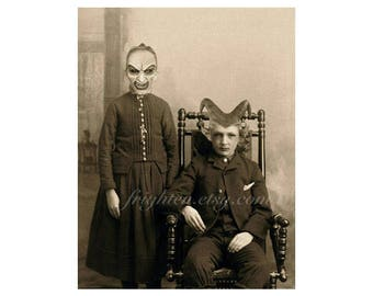 Halloween Art Print, Macabre Horror 8.5 x 11 Inch Print, Creepy Horror Art, Demons, Halloween Decor