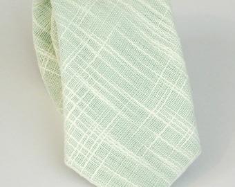 Mint green linenetto linen textured neck tie standard or skinny