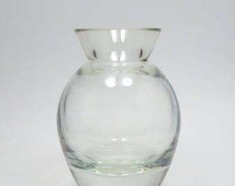 Vintage Mouth Blown Crystal Bulb Forcing Vase, Heavy Lead Crystal Vase, Hand Blown Crystal Vase, Large Bulb Forcing Vase, Flower Vase