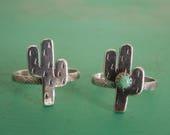 Larger Cactus Sterling Silver Turquoise Ring Handmade Saguaro Cactus Arizona New Mexico Southwest Ring