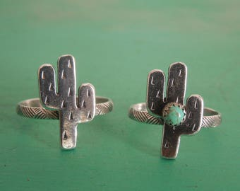 Fatter Little Cactus Sterling Silver Turquoise Ring Handmade Saguaro Cactus Arizona New Mexico Southwest Ring