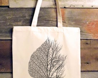 Tote Bag - Leaf and Tree Illustration - Screen Printed Tote Bag - Cotton Canvas Tote