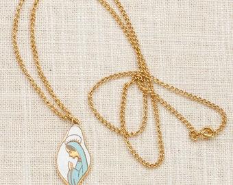 Praying Woman Necklace Vintage Gold Blue White Nun Christian Catholic Chain Costume Jewelry 7L