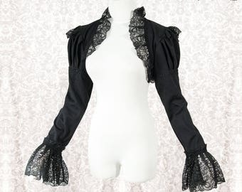 Black lace shrug, steampunk victorian sleeves, gothic, goth, lace, Somnia Romantica, size large, see item details for measurements