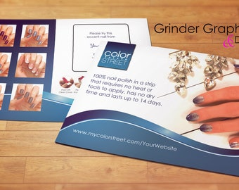Color Street Twosie Postcard Personalized 4x6 Business, Nails, Nail Strips, Digital Download