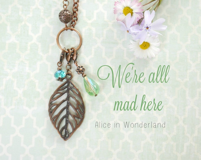 Digital greeting card with quote, wildflowers and jewelry design, pastel colors, Alice in Wonderland quote, Mori girl, kawaii, girly, sweet