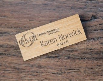Alder Wood Name Badge