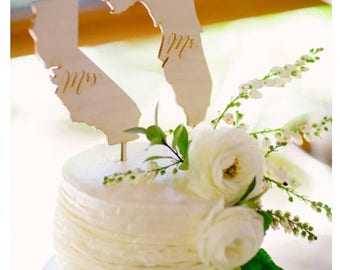 Mr and Mrs State Cake Toppers Wedding Cake Topper Rustic Wedding Cake #DownInTheBoondocks