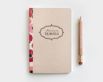 Travel Journal & Pencil Set - Christmas Gift Idea - Poppies Floral Journal, Brown Customized Personalized Stocking Stuffer