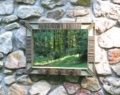 RESERVED FOR CHRISTINE: Adirondack Twig and Pine Cone Mirror in Sage Green Crackle Finish
