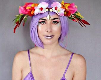 Tropical Rouge flower Crown, Queen Crown, Wedding Crown, Festival Crown