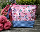 """Project bag small/medium """"Pink PIP"""", lined and interfaced, Leukgemaakt, knitting bag, crochet, gift for her, birthday, Christmas present"""