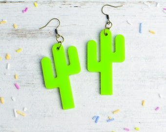 Cactus Statement Earrings | Nickel Free Dangle Earrings | Pantone Colour of the Year Greenery | Cactus Jewellery | Cactus Gift