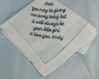 Father Handkerchief Gift for Dad of the Bride | FOB Handkerchief | Fathers Handkerchief | Wedding Handkerchief for Father of the Bride HM403