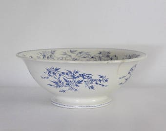 Antique French Ironstone Bowl Transferware, Blue Transferware Large Salad Bowl, Sarreguemines