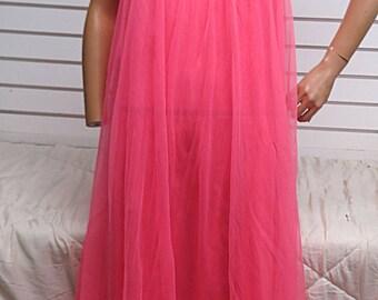 Pink  Nylon Chiffon Vintage  Nightgown  Medium #480