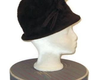 50s Brown Cloche, Fur Felt Cloche, Vintage Cloche, 1950s Winter Hat, Brown Fall Hat,  Brown Felt Cloche, Brown Dress Hat, Long Fur Felt