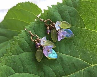 Lilac Flower Earrings, Purple Flowers Earrings, Amethyst and Lavender Czech Glass Flowers & Green Leaves Earrings, Floral Earrings, Wedding