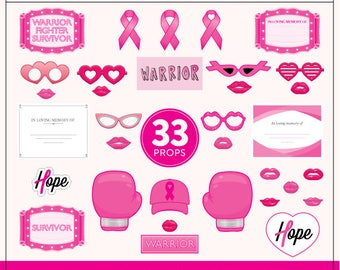 Printable Breast Cancer Awareness Photo Booth Props | 33 Breast Cancer Printable Props | Instant Download
