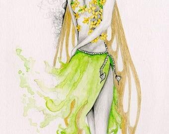 Fairy Art Pencil Drawing Illustration Giclee Print of my Original Pencil Drawing Woodland Fairy Art Print Green Fairy Illustration