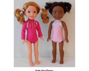 "PDF Gymnastics sewing pattern fits 14 1/2"" dolls like Wellie Wishers"
