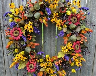 Fall Wreath, Fall / Autumn Wreath, Fall Wreath in Natural Colors with Sunflowers and Fall Leaves and Fall Berries