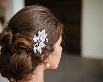 SALE Victorian Hair Clip, Rose Hair clip, Victorian Flower Floral Hair Barrette, Silver Ox Brass, Cabbage Rose, Victorian Garden BRIAR ROSE