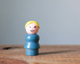 Vintage 1970's Fisher Price Little People Mom | Wooden Blue Body with Blonde Yellow Hair Ponytail