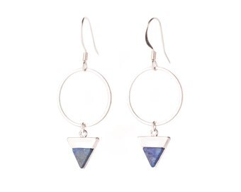 Silver circle + faux blue howlite triangle drop earrings with nickel free silver plated hooks