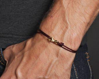 Men's Bracelet - Minimalist maroon bracelet for men/Thin maroon cord and gold bracelet for men - Bracelets for Men - Men's Jewelry - For him