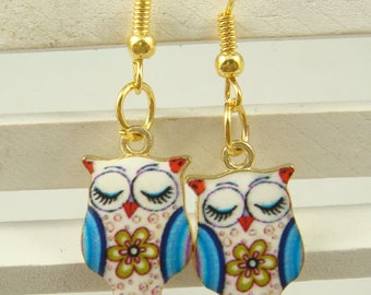 Earrings Colorful Owl Yellow Gold Plated